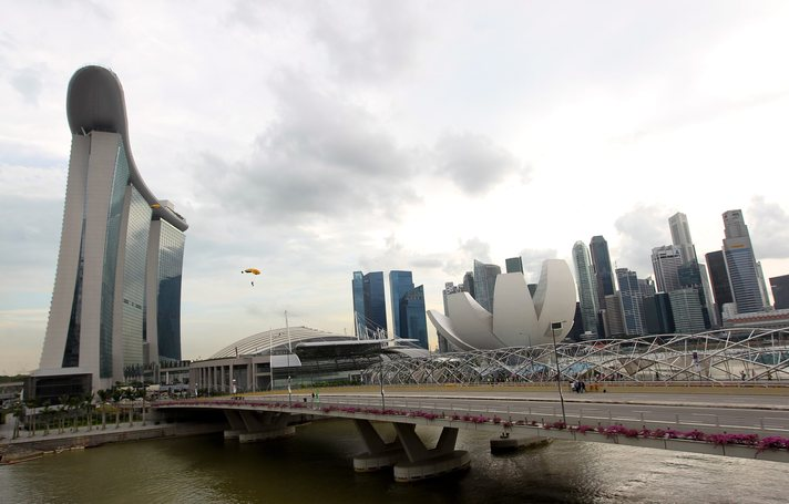 Base jumpers leap from Marina Bay Sands Skypark